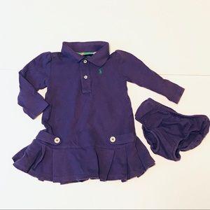 Ralph Lauren Baby Purple Pleated Polo Dress